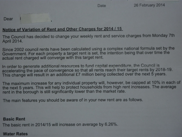 Letter recieved by TMO tenants informing them that they are no longer welcome in the Rotten Borough.