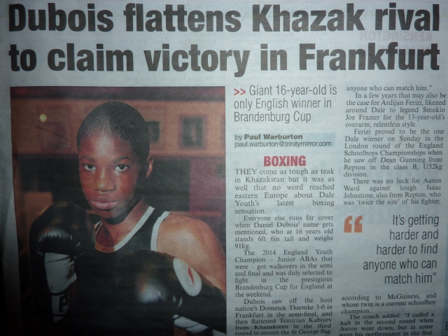THE K AND C CHRONICLE REPORT ON DALE YOUTH'S DANIEL DUBOIS VICTORY IN GERMANY
