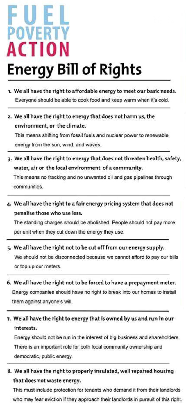 FUEL POVERTY ACTION – BILL OF RIGHTS   Grenfell Action Group